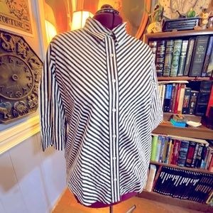 Vintage Blair black and white striped button up